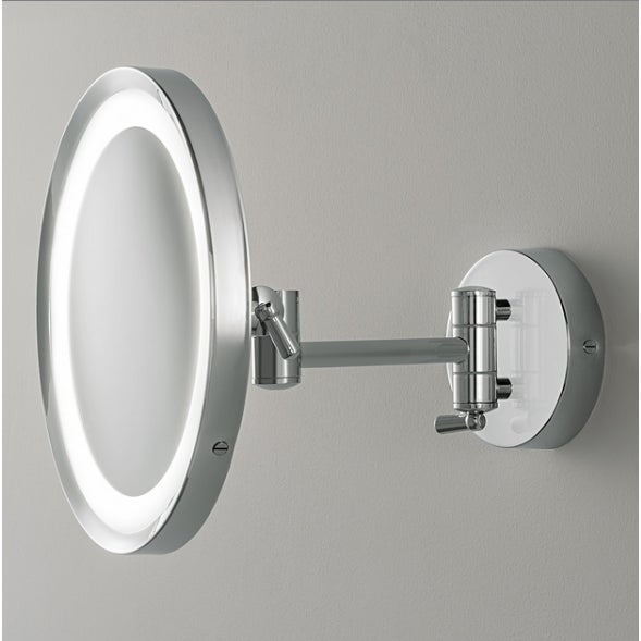 Polished chrome adjustable mirror with integral LED light source This mirror is adjustable and designed for use in the...