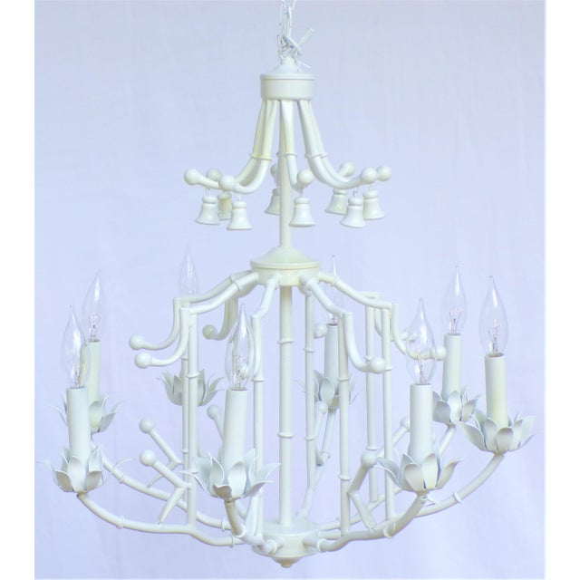 1970s Large Palm Beach Regency Pagoda Faux Bamboo White Chandelier - 8 Arms For Sale - Image 5 of 12