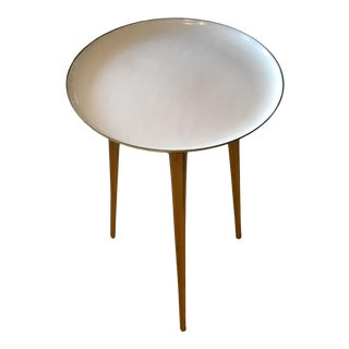 Mid-Century Modern Round Three-Legged Brass & Beige Enamel Side, End Table 1950s For Sale