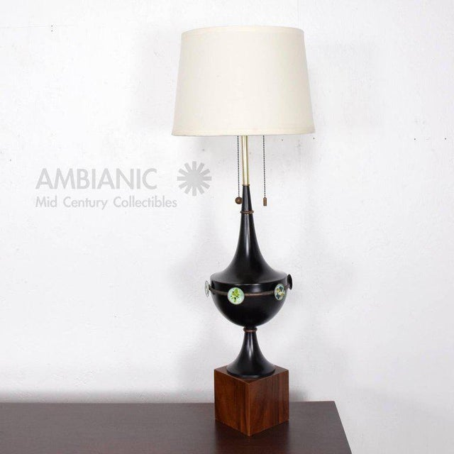 For your consideration a beautiful table lamp in sculptural shape in aluminum painted in black. Fittings and hardware in...