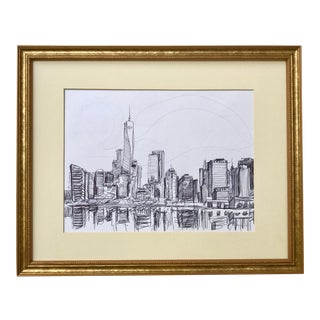 New York Manhattan Skyline by Tom Christopher Original Pen and Ink Drawing For Sale