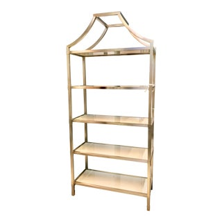 Contemporary Bastein White and Silver Five Shelf Etagere For Sale
