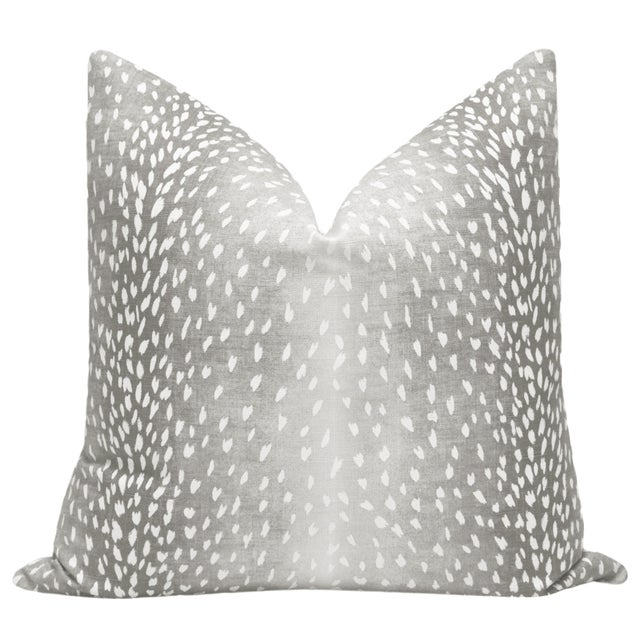 Pair of beautiful custom-made Antelope Linen Print pillows in Gray. Meticulously handcrafted with serged interior seams,...