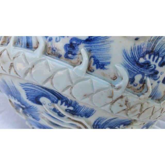 Vintage Glazed Dragon Relief Vase For Sale - Image 4 of 5