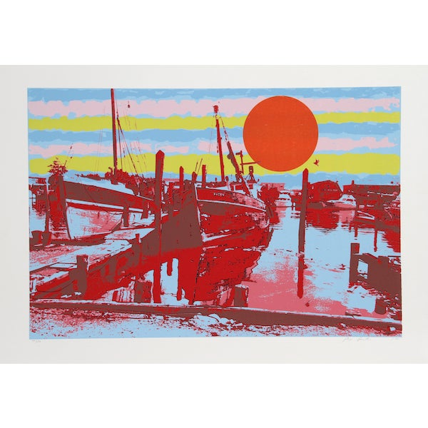 "Max Epstein, ""Freeport Fishing Boats,"" Serigraph - Image 1 of 2"