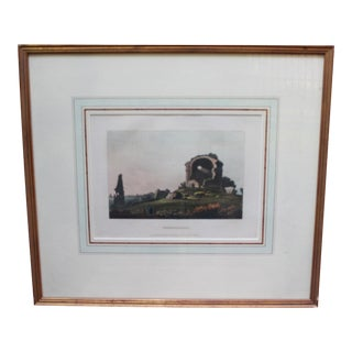 """19th Century Traditional Framed Colored Engraving of a Landscape, Titled """"Temple of Hope"""" For Sale"""