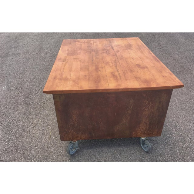 1980s 1980s Industrial Reclaimed Flat File Coffee Table For Sale - Image 5 of 13