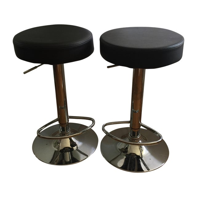 Leather & Chrome Adjustable Bar Stools - A Pair - Image 1 of 6