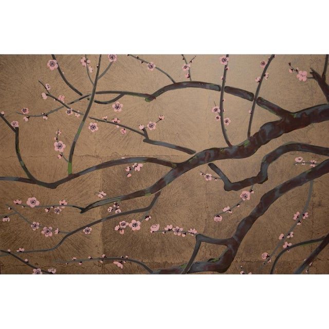 1970s Gold Leaf and Silk Japanese Shōwa Era Byobu Screen With Green Birds and Sakura For Sale In Dallas - Image 6 of 12