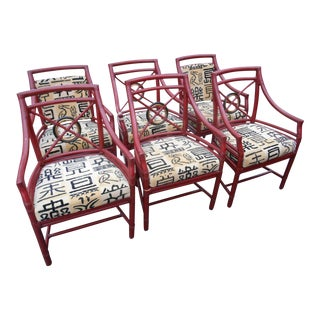 Vintage McGuire Rattan Target Back Dining Chairs - Set of 6 For Sale