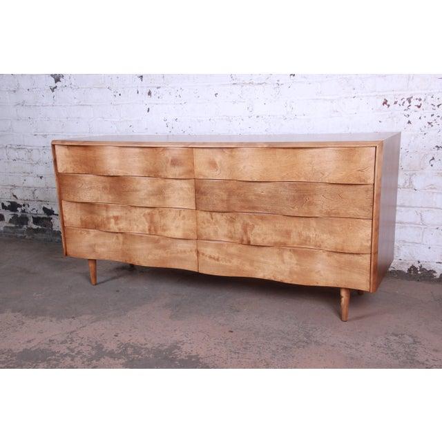 Mid-Century Modern Edmond Spence Wave Front Long Dresser For Sale - Image 3 of 11