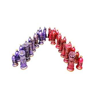 Mid Century Duncan Pink & Purple Ceramic Glaze Medieval Chess Set