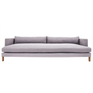 Modern Low Profile Grey Linen Sofa