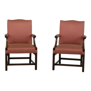 Pair Kittinger Colonial Williamsburg Chippendale Mahogany Armchairs For Sale