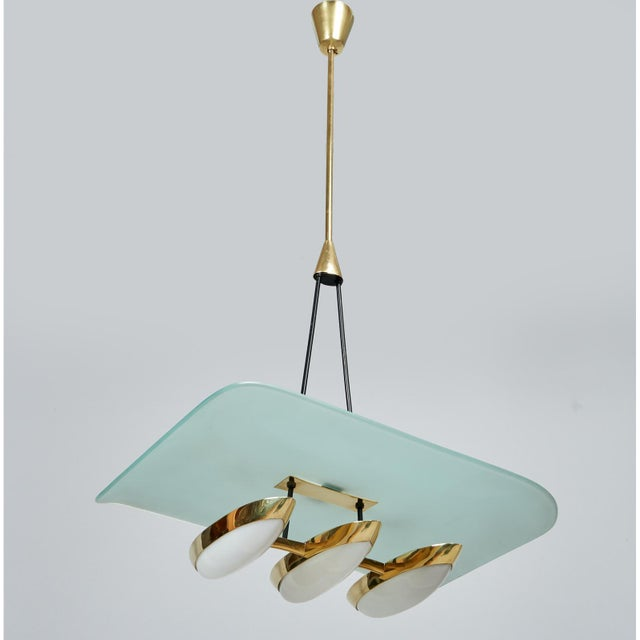 1950s Angelo Lelii for Arredoluce Glass, Brass and Perspex Pendant Chandeliers, Italy 1950's - a Pair For Sale - Image 5 of 10