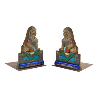 Enameled Brass Foo Dog Bookends For Sale