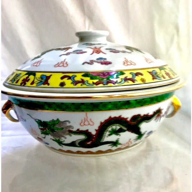 Vintage Chinese Dragon Phoenix Wedding Luck Tureen For Sale - Image 5 of 11