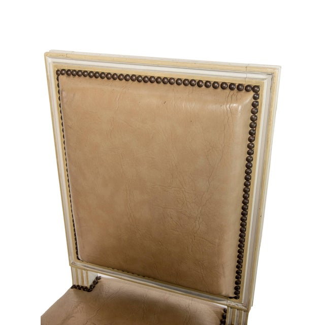 Square Back Louis XVI Dining Chairs Covered in a Tan Leather - Set of 4 For Sale - Image 4 of 11