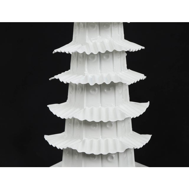 Mid 20th Century 1970s Vintage Glossy White Pagoda For Sale - Image 5 of 7