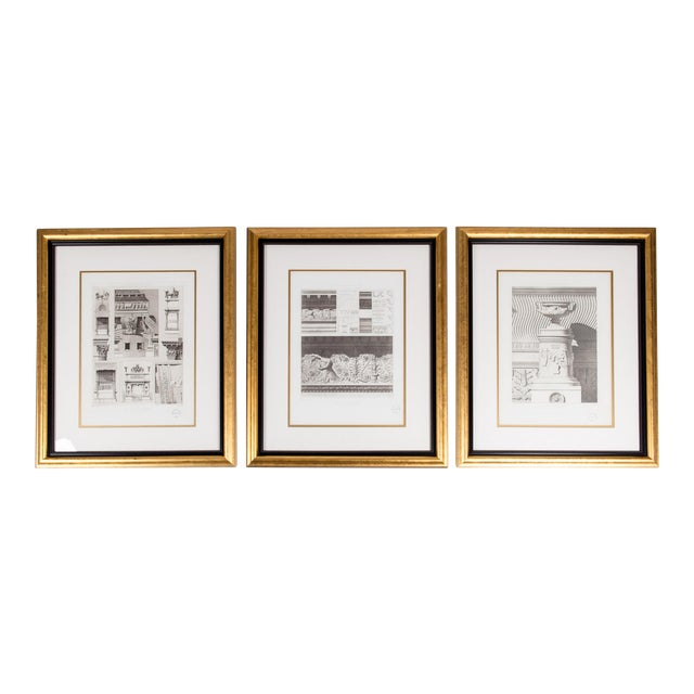 Mid-20th Century Architectural Lithograph With Giltwood Frame - Set of 3 For Sale