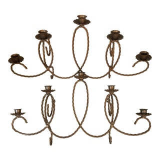 Italian Gold Gilt Twisting Wire 5 Candle Wall Sconces - a Pair For Sale
