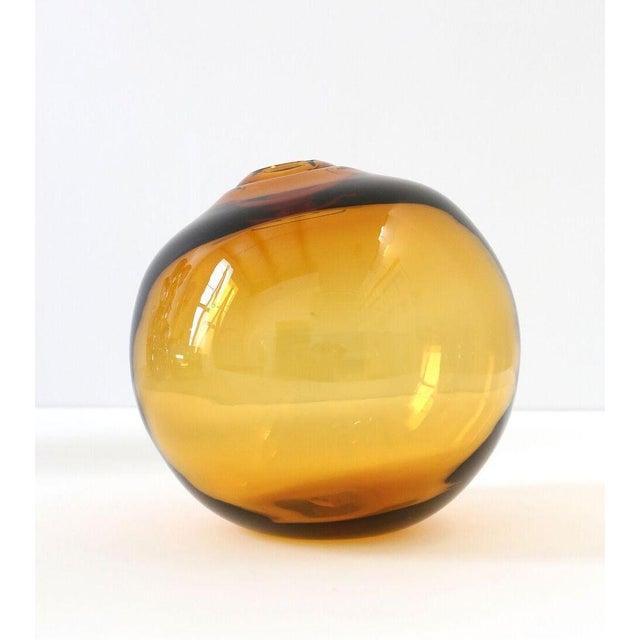 "Glass SkLO Float Glass Vessel 12"" - Amber For Sale - Image 7 of 7"