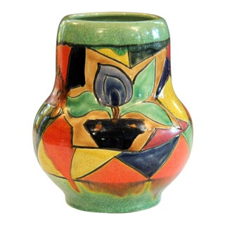 Awaji Pottery Art Deco Japanese Mock Cubist Fractured Picture Plane Vase Signed For Sale