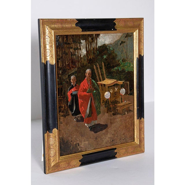 Asian Late 19th Century Francis Neydhart Oil on Canvas Japanese Monks in a Landscape For Sale - Image 3 of 13