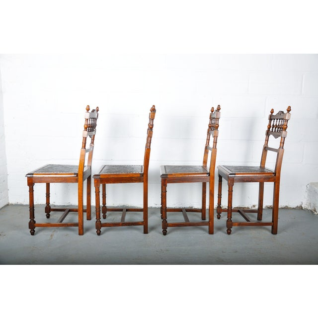 Antique Set of 4 French Henri II Oak Dining Chairs For Sale - Image 10 of 13
