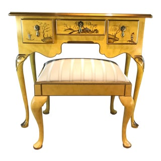 1960s Chinoiserie Baker Furniture Vanity Desk With Stool - 2 Pieces For Sale