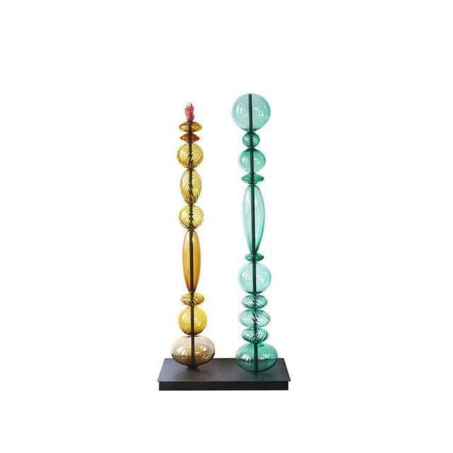 Contemporary Collection of Glass Towers Sculpture - Set of 3 For Sale - Image 3 of 8