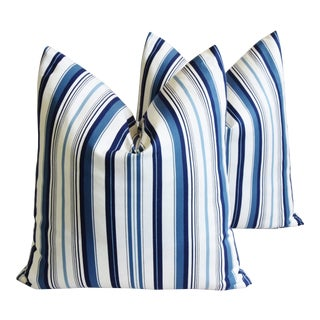 """Nautical Blue & White Striped Fench Ticking Feather/Down Pillows 23"""" Square - Pair For Sale"""