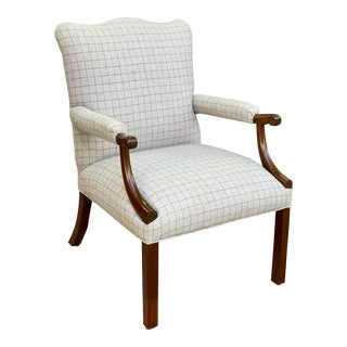 """Antique """"Gainsborough"""" Style Mahogany Library Chair For Sale"""