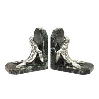Pair of Art Deco Green Marble Bookends For Sale