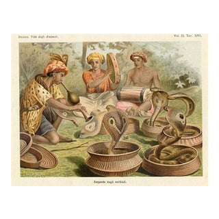 Snake Charmers, 1930s Lithograph For Sale