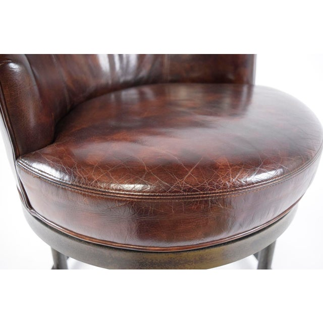Vintage Art Deco Style Leather Accent Chairs - Set of 4 - Image 7 of 10