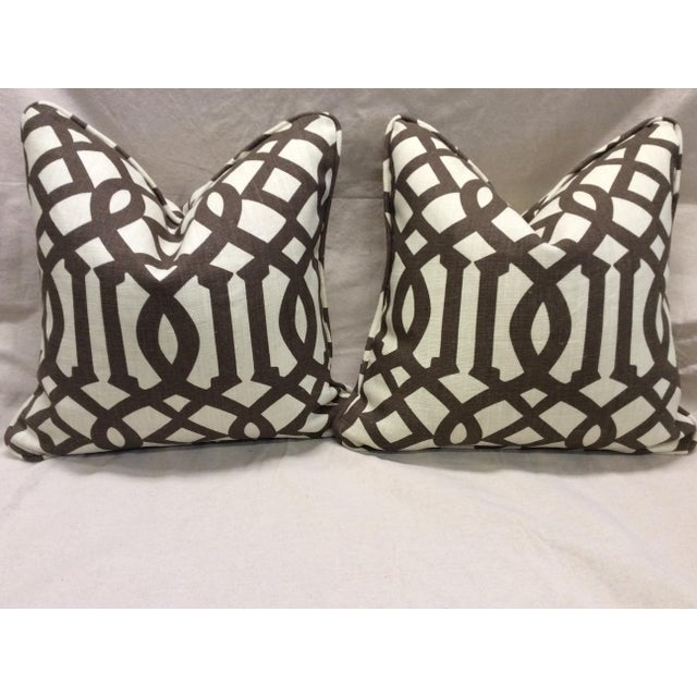 Contemporary Brown & Neutral Pillows - A Pair For Sale - Image 3 of 7