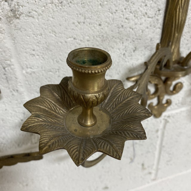 Brass Brass Palm Candle Sconces - a Pair For Sale - Image 8 of 13