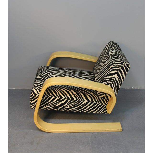 Alvar Aalto Tank Chair With Original Zebra Fabric - Image 4 of 7