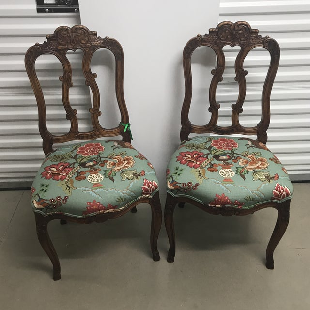 Wood French Walnut Chairs With Hunt Scene Upholstery - a Pair For Sale - Image 7 of 7