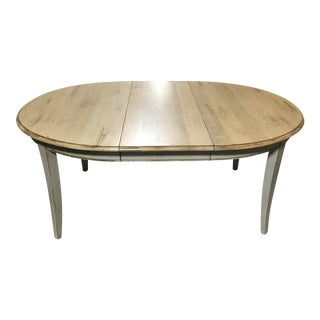 French Bleached-Oak & Painted Dining Table For Sale