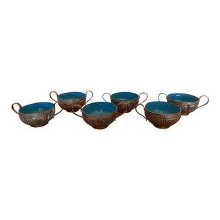 Antique Blue Enameled & Pewter Bowls - Set of 6