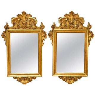 Italian Rococo Giltwood and Gesso Mirrors - A Pair For Sale