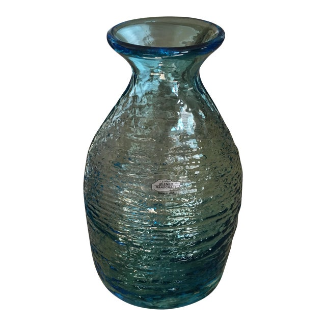 Vintage Blenko Blue Ice Glass Vase For Sale