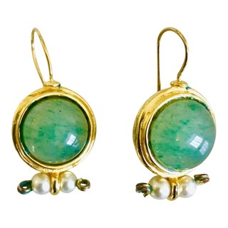 Jaded Ny Jade Look and Pearl Dangle Earrings For Sale