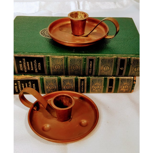 Pair of Vintage Coppercraft Guild Taunton Mass Copper Candlestick Holders For Sale - Image 6 of 8