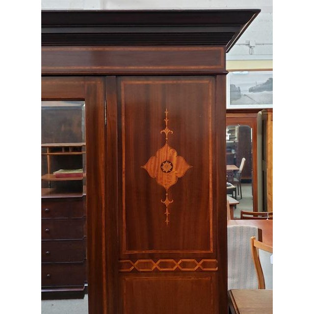 Custom Made Mirror Door Armoire Imported from United Kingdom c.1915 Drawer & Hanging. Bevel Edge Mirror & Dovetail...