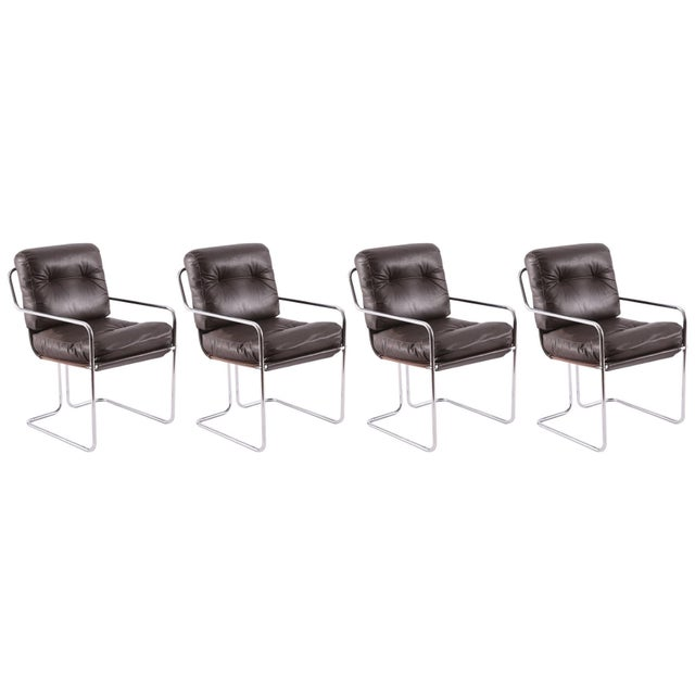 Silver Guido Faleschini for Pace Leather 'Tucroma' Chairs - Set of 4 For Sale - Image 8 of 8