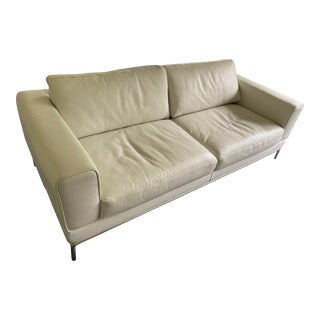 1980s Vintage White Leather and Chrome Mid Century Style Sofa For Sale