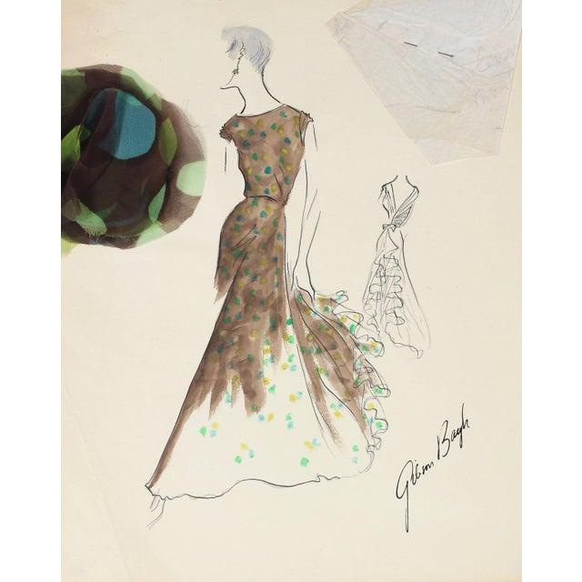 Vintage Long-Torso Dress in Brown Gouache & Ink Fashion Illustration For Sale
